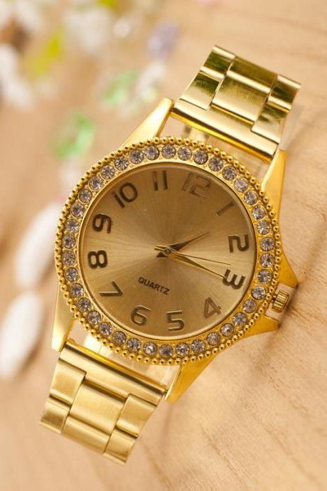 Golden Crystal Alloy Strap Watch