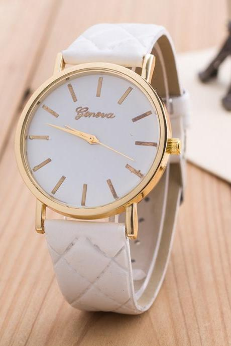 Classic Diamond Plaid Strap Watch