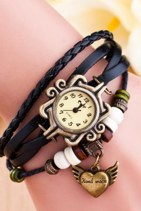 Retro Heart Wings Woven Bracelet Watch