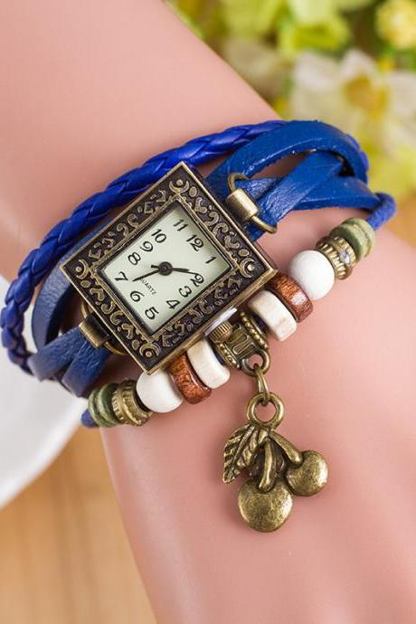 Retro Square Dial Cherry Bracelet Watch