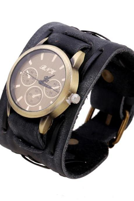 Punk Style Leather Woven Bracelet Watch