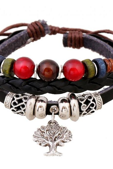 Tree Pendant Beaded Leather Bracelet