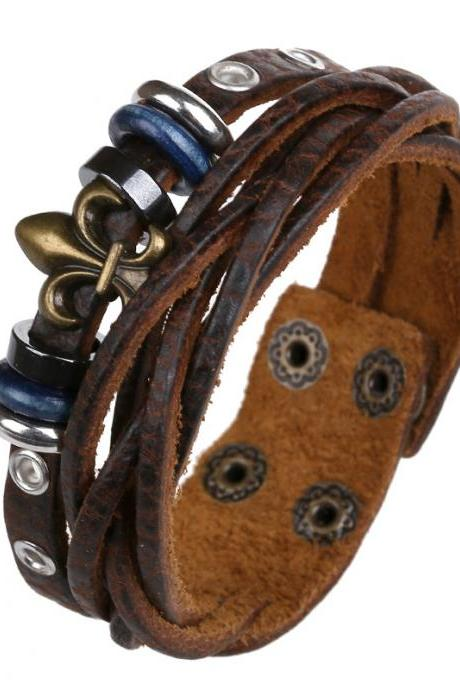 Beaded Flower Woven Leather Bracelet