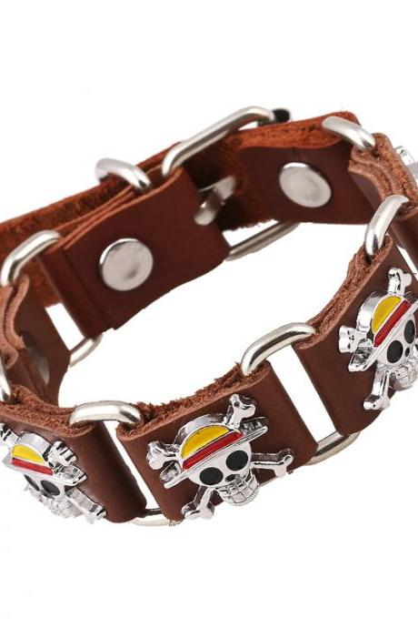 The Pirate Skull Leather Bracelet