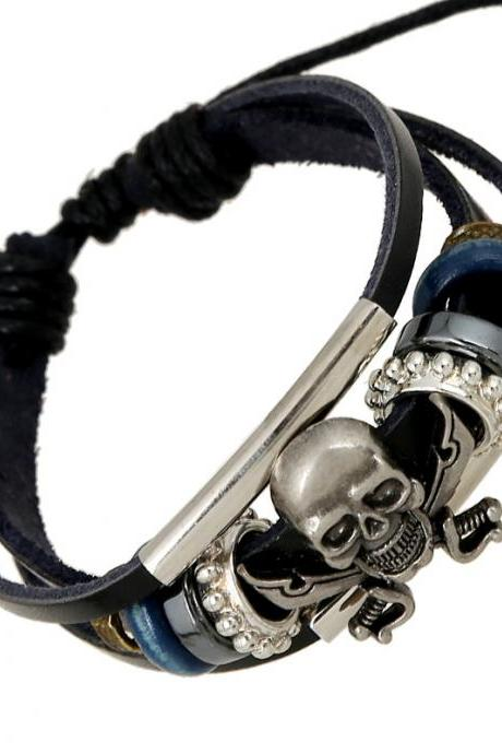 Handmade Skull Beaded Leather Bracelet