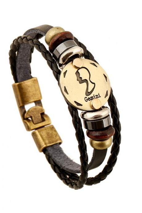 Gemini Constellation Leather Bracelet