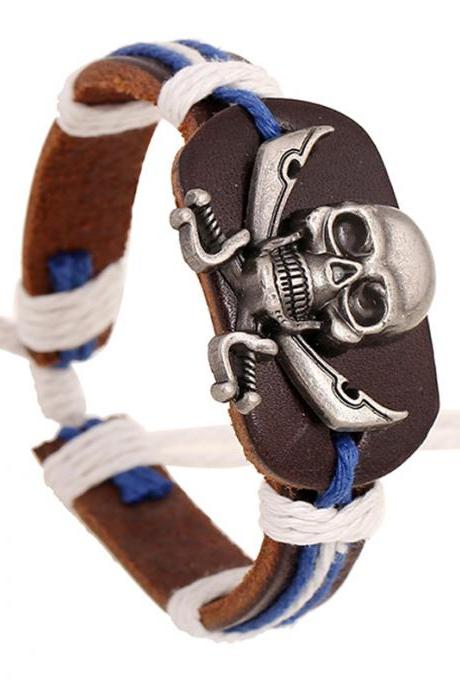 Original Skull Woven Leather Bracelet