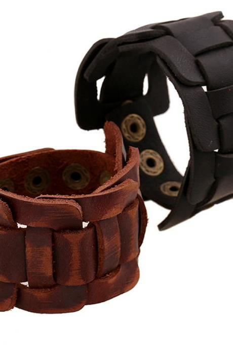Retro Wide Woven Leather Bracelet