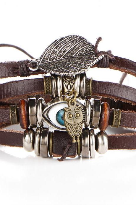 Eye Owl Leaf Multilayer Bracelet