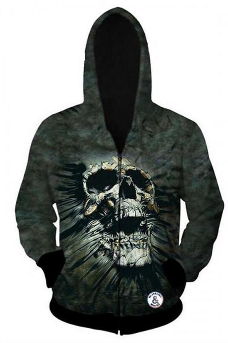 Digital Printing Green Skull Threads Hoodie