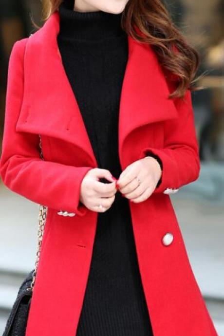 Fashion Stand Collar Button Long Coat