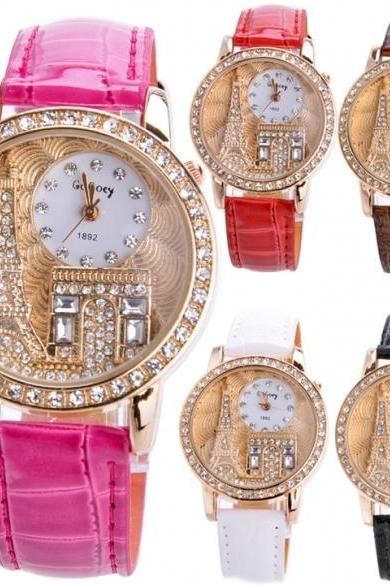 Women Rhinestone Luxury Watches Crystal Leather Tower Quartz Wrist Watch