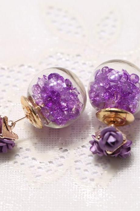 Rose Glass Crystal Ball Earring