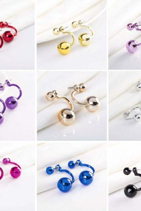 Colorful Hook Double Pearl Earring
