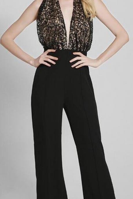 Plunging V-Neckline Backless Halter Long Jumpsuit, One-Piece