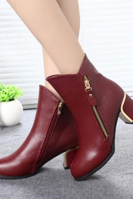 Sexy Pointed Head Zipper Ankle Boots