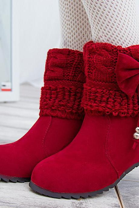 Round Toe Frosted Bowknot Tassel Boots