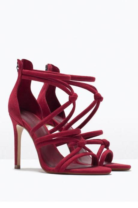 Knotted Strappy High Heel Sandals with Back Zipper