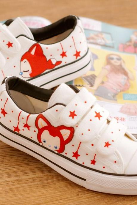 Sweet Velcro Hand-Painted Canvas Sneakers