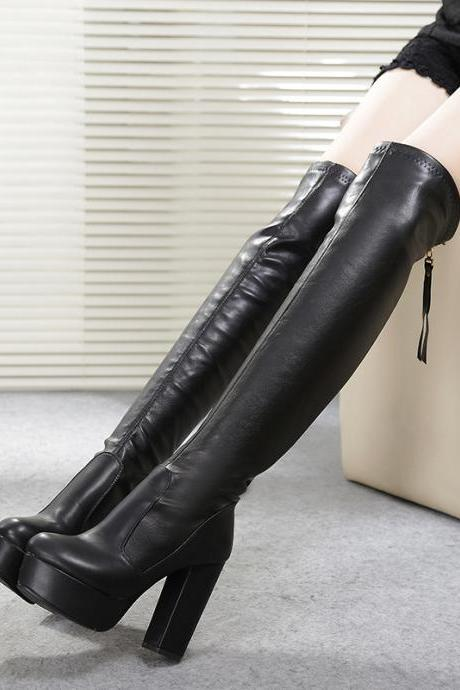 Women's PU Leather Knee High Boots with Chunky Thick High Heel