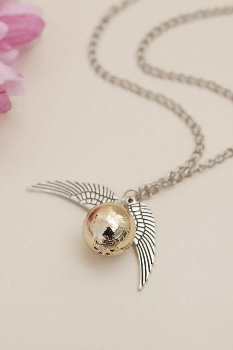 Harry Potter and the Deathly Hallows Golden Snitch Wings Necklace