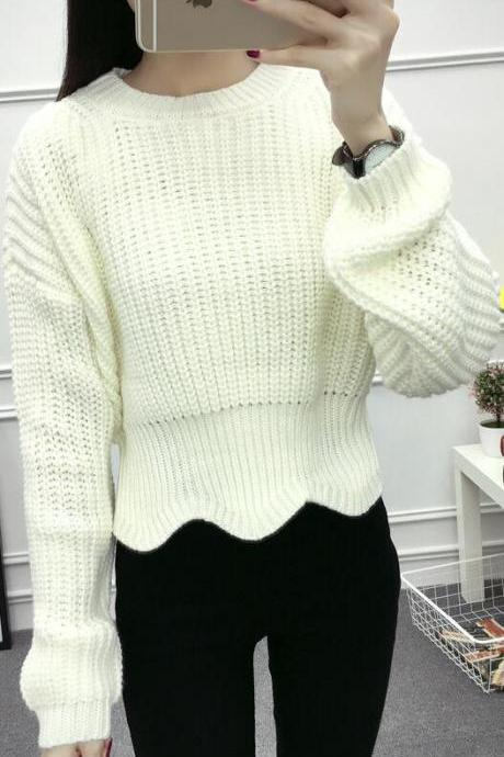 Pull Over High Neck Batwing Sleeve Short Slim Sweater