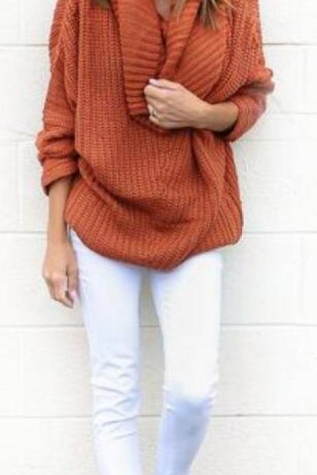 Turtle Neck Knitting Long Sleeves Loose Sweater