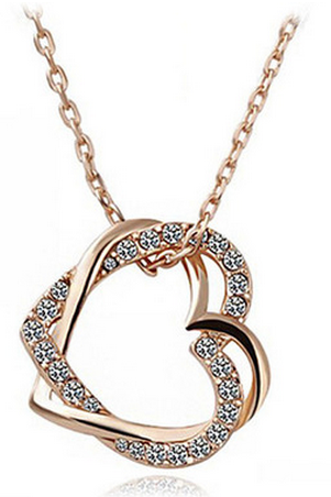 Austria crystal double heart winding love shaped Necklace