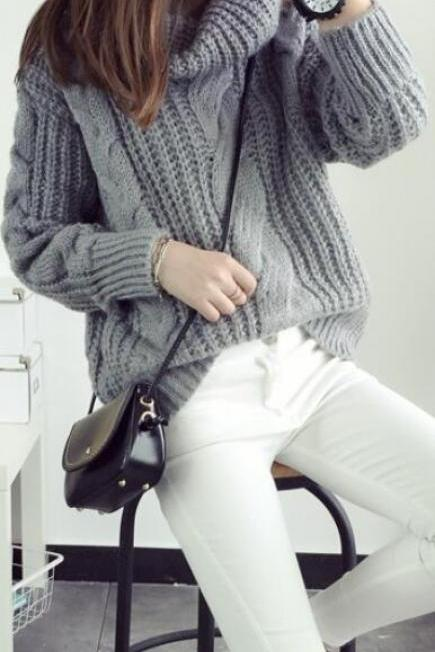 Fashion Turtle Neck Pullover Twist Knitting Sweater