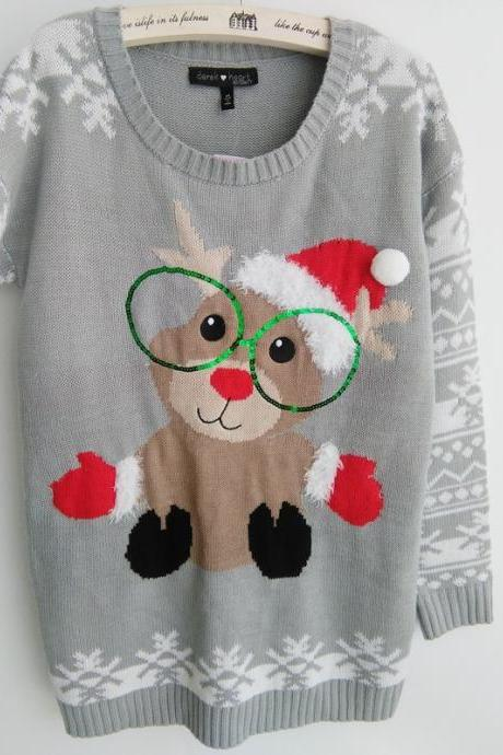 Cute Christmas Elk Sequins Glasses Gray Knitting Sweater