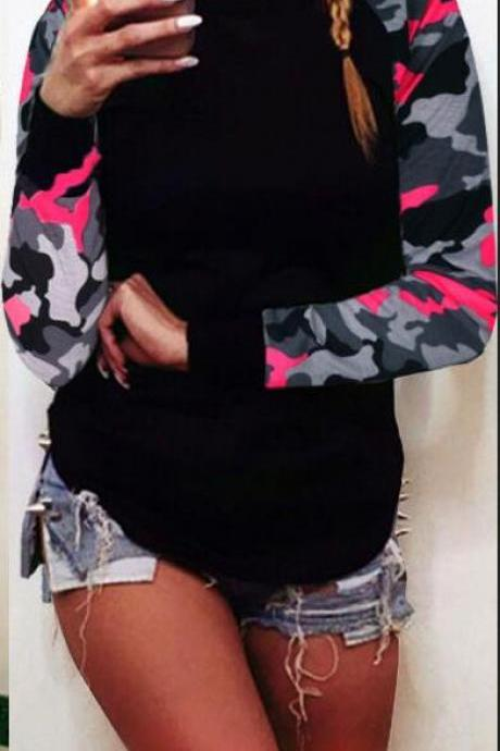Fashion Camouflage Splicing Printing Irregular Hem Sweatshirt
