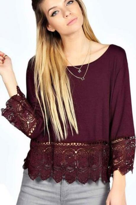 Lace Patchwork Scoop Long Sleeve Pure Color Loose Blouse