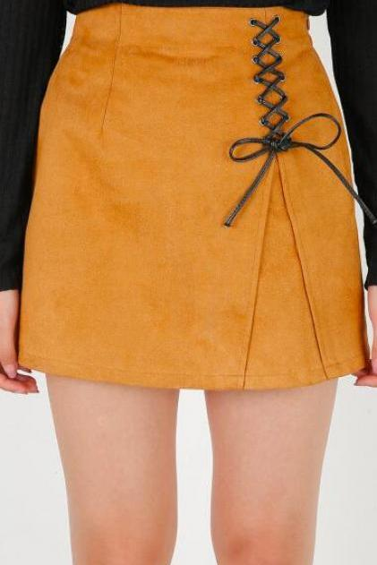 Short High Waist A-Line Skirt Featuring Lace-Up Detailing