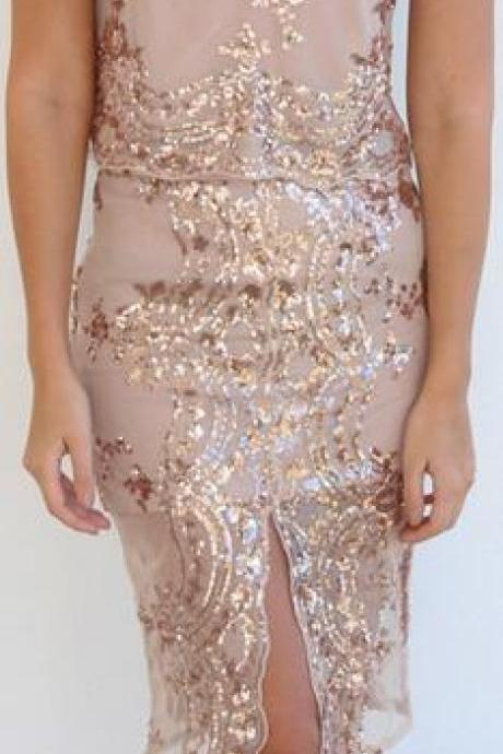 Sequins Mesh Front Split Knee-Length Slim Skirt