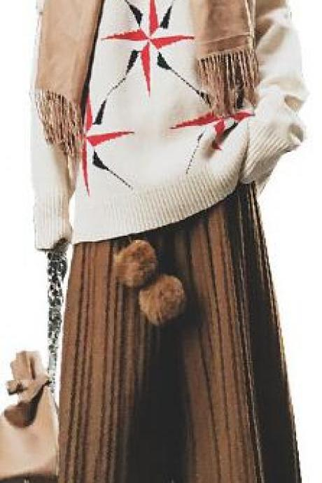 High Waist Woolen Pleated Wide-Legged 9/10 Pants