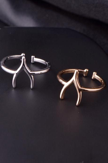 Wishbone Adjustable Ring in Gold or Silver, Jewelry