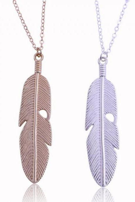 Popular joker contracted leaves feather necklace