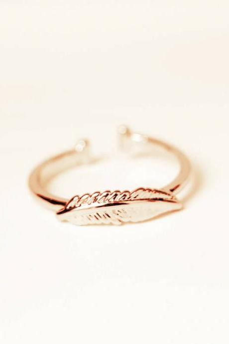 Leaf Adjustable Stackable Ring in Silver or Gold, Jewelry