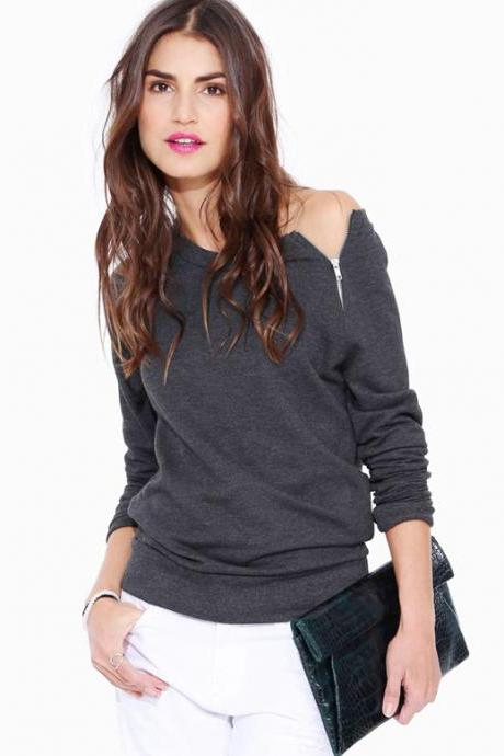 Women Fashion Zipper long sleeved Sweater