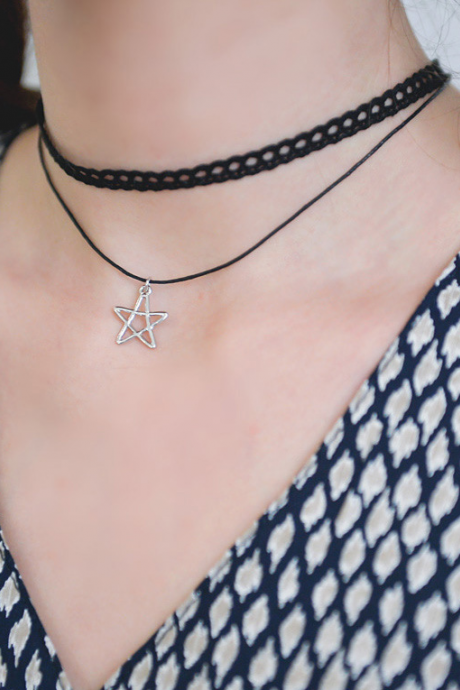 Lace pentagram elegant double necklace