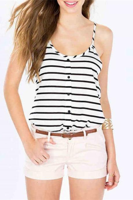 Black Striped White Scoop Neck Cami Top featuring Racer Back