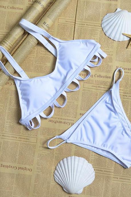 Solid Circle Two Pieces Swimwear