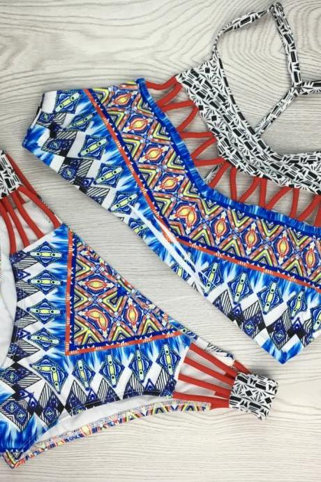 Geometric Pattern Stitching Sexy Two Pieces Swimwear