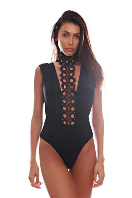 Lace Halter Neck Hollow Wrapped Siamese Jumpsuits