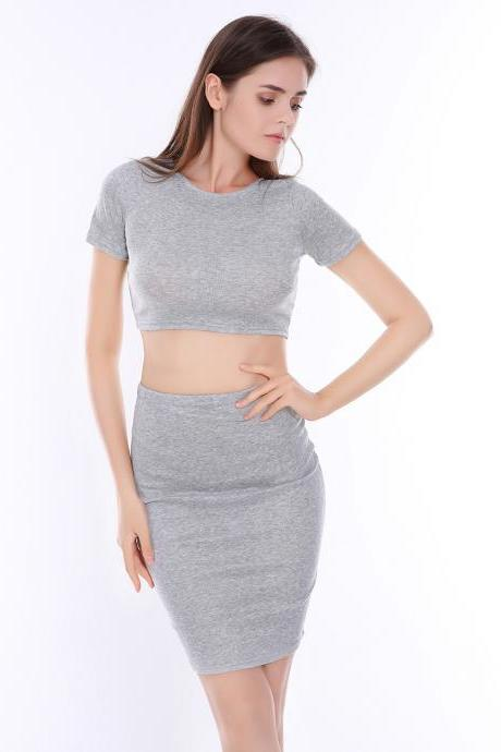 Gray Cotton Sexy Bodycon Two Piece Sets