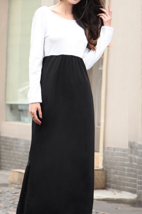 Round Collar Loose Backless Long Sleeve Dresses