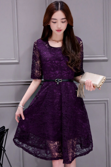 Scoop Short Sleeves Solid Lace Plus Size Short Dress