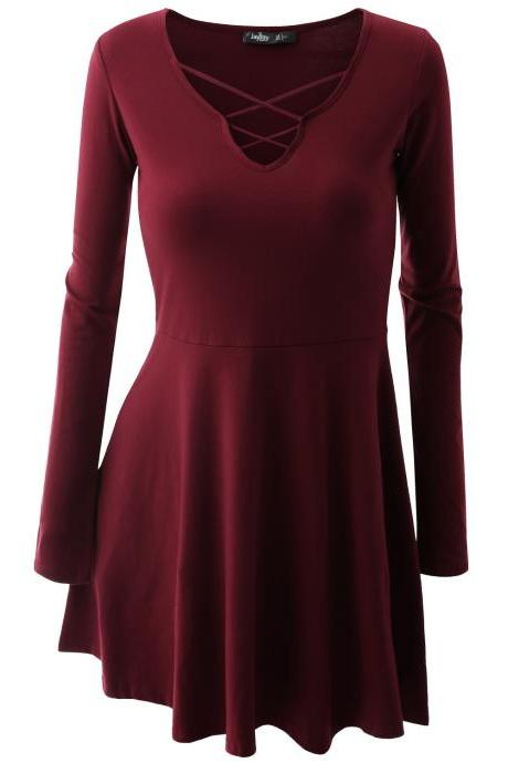 Lace-Up Long Sleeved Short Skater Dress
