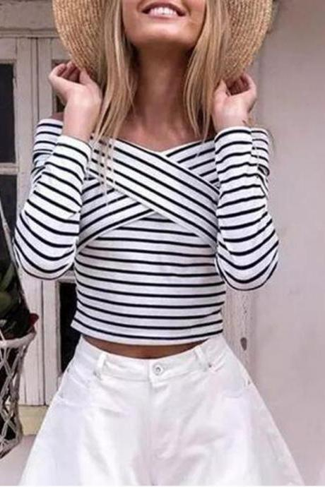 Black and White Striped Off-The-Shoulder Long Sleeved Top
