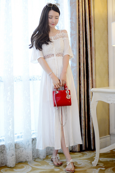 Off Shoulder Bohemia White Condole Belt Long Dress